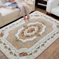 欧式简约地毯客厅沙发茶几垫家用房间卧室满铺床边毯珊瑚绒可机洗 杏色 欧式花-驼色