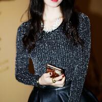 春秋新款女装打底衫长袖外穿高弹力金银丝T恤 修身圆领上衣薄款 黑色 银丝黑色
