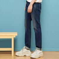 【2件2.5折叠券价约:53.8】美特斯邦威牛仔裤男秋季新款男装裤子男士修身舒适直筒长裤
