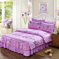 加厚磨毛床罩床裙式四件套棉婚庆大红棉被套磨毛被1.8/2.0m床上用品