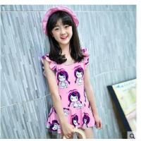 户外 新款儿童泳衣女童韩版连体裙女孩泳装式中大童游泳衣公主学生