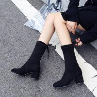 短靴女2018秋冬新款粗跟弹力靴女靴高跟尖头中筒靴英伦风马丁靴子