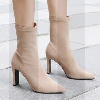弹力袜靴女短靴粗跟尖头真皮绒面高跟瘦瘦靴2018秋冬新款网红中筒SN3266