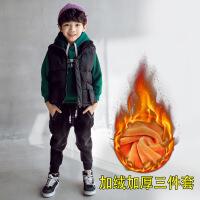№【2019新款】冬天儿童穿的男童加绒卫衣套装洋气中大儿童冬装加厚上衣男孩三件套潮
