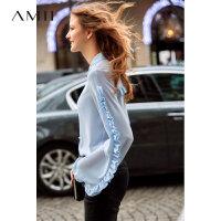 【到手价176元】Amii温柔风气质荷叶边雪纺衫女2019秋新款翻领灯笼袖长袖衬衫上衣