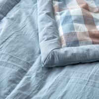 良品可水洗棉无印空调被夏被薄被加大夏凉被220*240格子纯棉全棉秋天被子 秋季 双人宿舍被子和褥子