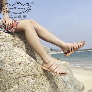 玛菲玛图拖鞋女夏外穿夏季2018新款性感条纹摔纹牛皮低跟平底套趾沙滩鞋女M19810881T25