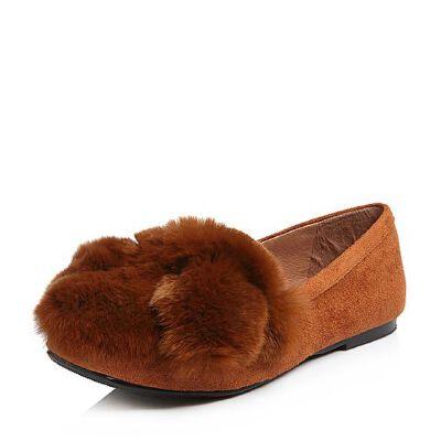 BASTO/百思图2018春季专柜同款绒布/兔毛休闲趣味纯色女浅口鞋RGB29AQ8