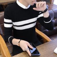 №【2019新款】小伙子穿的假两件毛衣男韩版衬衫领针织衫2018冬假领毛线衣带领打底