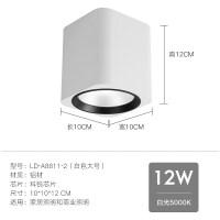 明装筒灯黑白色北欧客厅COB射灯5W12led走廊过道吊顶方形天花筒灯 白色大号 白光5000K 12W