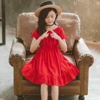 小女孩夏天裙子女童红色连衣裙夏季短袖公主裙大童一字肩儿童夏裙