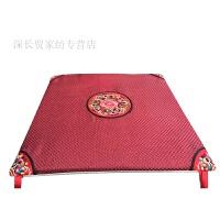 新品 中式亚麻坐垫 古典民族风垫子田园夏实木餐椅子坐垫红木沙发坐垫圈椅垫