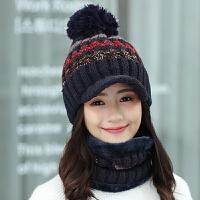 保暖帽子女冬天鸭舌毛线帽围巾一体护耳棉针织帽女士秋冬