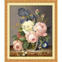 新款印花法国DMC十字绣客厅卧室大画 娇艳玫瑰 静物花