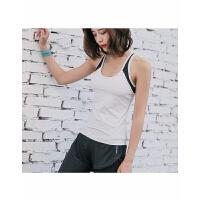 紧身速干跑步运动背心高弹力健身上衣工字背心内含胸垫片韩版灰色