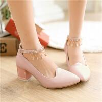 韩版小女孩公主高跟鞋水钻链子舞蹈鞋走秀表演跳舞鞋女童皮鞋童鞋SN2249