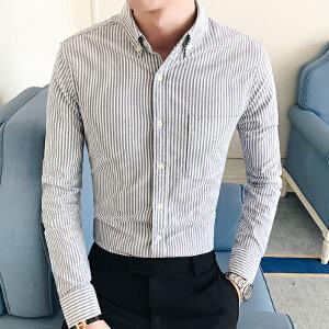 男装春秋新款韩版长袖衬衫气质潮流修身条纹男士休闲衬衣32