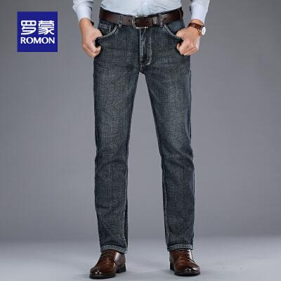 【2.5折到手价:149】罗蒙加绒牛仔裤男士秋冬新款休闲裤中青年时尚加厚直筒长裤子