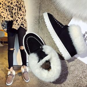 女式 冬季雪地靴女短筒平底翻边毛毛短靴保暖棉鞋