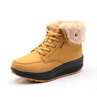 2018冬季户外雪地靴女鞋中筒防水加绒加厚东北保暖棉鞋短靴子 黄 6805黄色