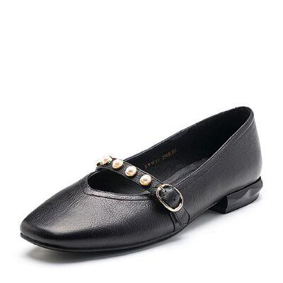 BASTO/百思图2018春季专柜同款牛皮珍珠浅口方头女单鞋RFW26AQ8