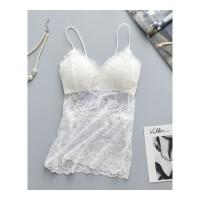 白色性感美背吊带背心打底内衣长款带胸垫防走光裹胸抹胸少女夏季 均码