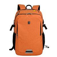 双肩电脑包旅行包背包寸 双肩包双肩背包男女通用 棉麻橙色 大号放-寸电脑