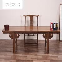ZUCZUG红色木家具 鸡翅木书桌 中式实木写字台仿古办公桌画案书法桌书画桌 +官帽椅