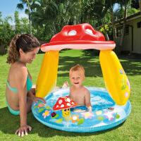 厚婴儿浴盆 蘑菇充气游泳池圆形遮阳家用儿童宝宝戏水池