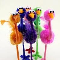 毛绒圆珠笔礼品 鸵鸟笔小文具中小学生学习用品创意新奇批发