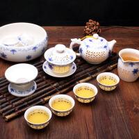 陶瓷整套功夫茶具蜂窝镂空茶壶茶杯盖碗 青花瓷玲珑茶具套装