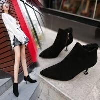 女鞋子2018秋冬季新款欧美尖头绒面百搭短靴子性感细跟高跟马丁靴
