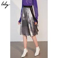 【25折到手价:119.75元】 Lily春新款女装时髦金属光泽感A型印花半身裙118340C6215