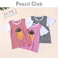 【2件4折:43.6】铅笔俱乐部童装2020夏装新款女童圆领短袖T恤中大童儿童上衣潮