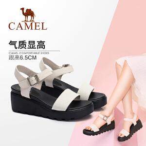 Camel/骆驼女鞋 2018夏季新款 休闲简约坡跟凉鞋防水台松糕鞋厚底女凉鞋