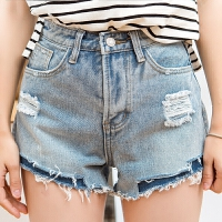 破洞牛仔短裤女夏季新款个性毛边破洞牛仔短裤女补丁宽松热裤潮