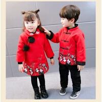童装男童2加绒加厚秋冬套装3-4岁男宝唐装新年礼服5儿童拜年服6岁