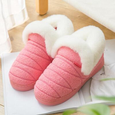 男士棉拖鞋冬季大码家居厚底居家用室内毛绒保暖全包跟棉鞋女冬天
