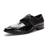 2018新款亮面布洛克鳄鱼纹真皮男士商务正装皮鞋套脚英伦绅士男鞋软底