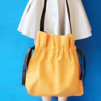 小清新少女抽带帆布包女单肩包 韩版百搭撞色手提购物袋