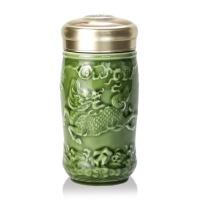唐乾乾唐轩活瓷杯小吉祥麒麟随身杯单层410ml陶瓷便携带泡茶水杯
