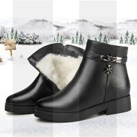 中老年冬鞋妈妈棉鞋真皮坡跟保暖羊毛皮鞋大码女鞋41平底42短靴43SN3776 黑色牛皮[羊毛里]