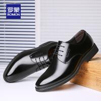 罗蒙男士商务真皮皮鞋2021春季新款中青年职业正装休闲增高牛皮鞋
