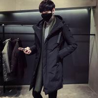 90白鸭绒2018冬季加厚男士羽绒服中长款韩版潮流修身大衣连帽外套 黑色