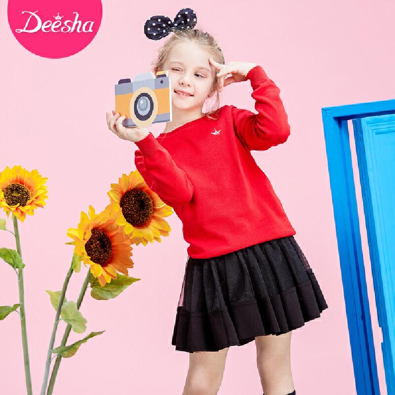 笛莎女童毛衣2018秋季新款时尚公主上衣中大童儿童套头针织衫