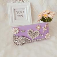 新款镶钻女式钱包长款爱心天使女孩钱包个性甜美多卡位带钻女包包