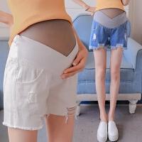 孕妇短裤女夏潮妈宽松透气低腰牛仔托腹裤子可调节孕妇裤夏天薄款