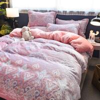 炫耀家纺珊瑚绒四件套法兰绒双面加厚保暖床单被套床上用品冬