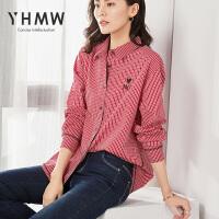 【限时秒杀99元】YHMW衬衫2019春季新款长袖宽松方领刺绣红白格纯棉格子