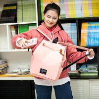 2018简约纯色双肩包女帆布休闲包韩版小清新中学生书包女旅行包